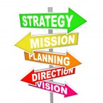 The words Strategy, Mission, Planning, Direction and Vision on c
